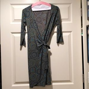 Brown, green, and blue wrap dress size 2P